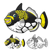 Detailed Triggerfish Cartoon Character Include Flat Design and Line Art Version