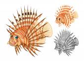 Detailed Lionfish Cartoon Character Include Flat Design and Line Art Version