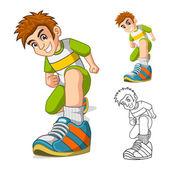 Perspektivische Ansicht des Kid-Schuhe-Cartoon-Figur