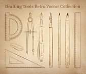 Drafting tools hand drawn set on vintage paper background