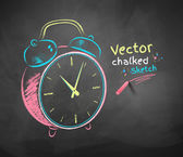 Color vector chalkboard drawing of alarm clock