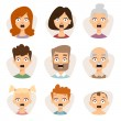 Постер, плакат: Vector set beautiful emoticons face of people character fear avatars