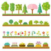 Trendy beautiful set of flat plants forest elements include grass, berries, bushes and trees vector illustration.