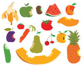 Various fruits bite eaten apple shape vector and sweet fruit bite food Food healthy isolated fresh apple fruit bite and diet juicy green delicious fruit bite eat dessert nutrition Fruit bite