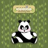 Fun Panda on bamboo background