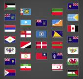 World flags collection regions provinces islands self proclaimed non recognized in UN part 3 Labeled in layers panel Flags on the right hand side reflected around vertical axis