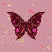 Beautiful designed colorful butterfly with swirls and flowers theme