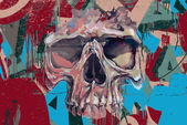 Graffiti lebka v plamenech