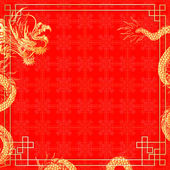 Vector illustration pattern with golden ornament Chinese red background with a Chinese dragon Can be used as a template for a menu or billboard or as a background