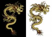 Vector illustration Traditional Chinese dragon gold on a black background and a white background Isolated object Template design is suitable for any illustrations