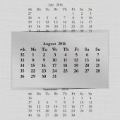 Vector illustration of a calendar month for 2016 pages in August against the background of the previous month and next month Week starts on Monday The image can be applied to any image