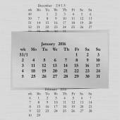 Kalendářní měsíc pro 2016 stránky začátkem ledna pondělí