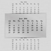 Vector illustration of a calendar month for 2016 pages in June against the background of the previous month and next month Week starts on Monday The image can be applied to any image