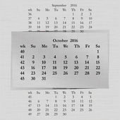 Vector illustration of a calendar month for 2016 pages in October against the background of the previous month and next month Week starts on Sunday The image can be applied to any image