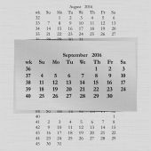 Vector illustration of a calendar month for 2016 pages in September against the background of the previous month and next month Week starts on Sunday The image can be applied to any image