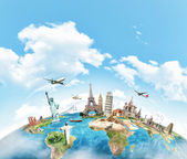 Cestování svět památník koncept