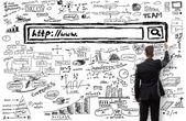 Unternehmer, die eine Suchleiste Zeichnung