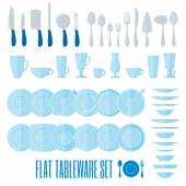 Flat style tableware big icon set on white Collection of simple geometric illustration of plates cups and glasses forks spoons and knifes Top and side view For cafe and restaurant menu design