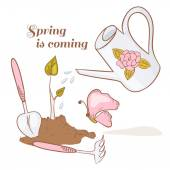 Set of garden tools ground with sprout watering can and butterfly Spring vector illustration eps 8