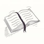 Sketched open book desktop icon  Doodle design element