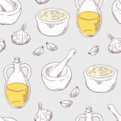 Aioli sauce seamless pattern with ingredients garlic olive oil porcelain mortar and pestle Cuisine vector illustration Sketched food background