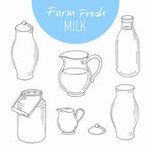 Set of sketchy dairy farm objects Milk goods clip art Vector illustration in outline style