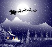 Santa's sleigh on Christmas Night is a vector illustration