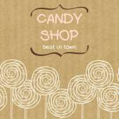 Cute seamless pattern made of hand drawn doodle caramel candies with text box in shape of curved brackets Cartoon sweets on brown kraft paper background