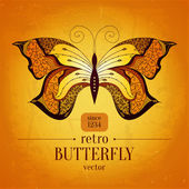 Retro butterfly vector banner design.Vintage butterfly ornament. Can be used for book cover, banner, decoration, textile and other cases.