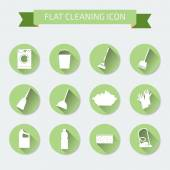 Flat vector color set of icons House cleaning and laundry Vector illustration