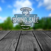 Spring sale badges logos and labels for any usem, on wooden background texture
