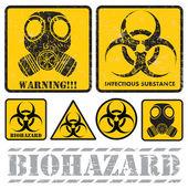 Set of signs warning of biological hazards