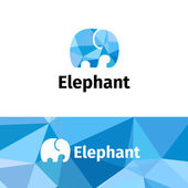 Vector trendy polygonal minimalistic elephant logo Low poly logotype