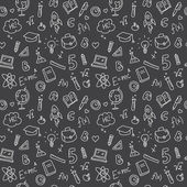Vector funny hand drawn school accessories seamless pattern Cute back to school black and white background