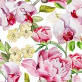 Pattern with delicate peony flowers and orchids on a white background Vector