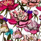 Colorful pattern with bright flowers and leaves of peony and cornflower.  Vector illustrations, hand drawing