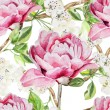 Постер, плакат: Seamless pattern with watercolor flowers Peonies