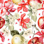 Watercolor pattern with apples and flowers of pomegranate and apple Vector