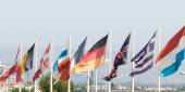 Group of flags representing the main European countries