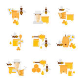 Honey and beekeeping Apiary beehives and frames honey jars flowers flying bees honeycomb and wax Flat design vector illustration