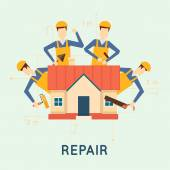 Home repairs Home improvement painting brush measuring laying masonry cut Vector illustration and flat design