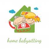 Concetto di vettore di casa babysitter con ragazza e ragazzo divertente
