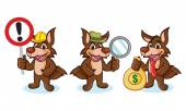 Coyote Mascot Vector with money sign and magnifying