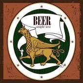 Beer design Label contains images of griffin beer label pattern on vintage background