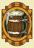 Beer label contains image of old oak beer mug on vintage background