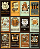 Set contains images of beer labels design with different  beer emblem beer mugsribbonspatterns brewery and place for textBeer label design set