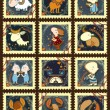 Постер, плакат: Set of postage stamps with zodiac signs