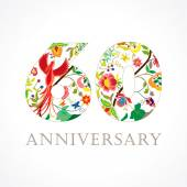 Template logo 60th anniversary in folk style with bird