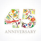 The template logo of 45th birthday in vintage patterns with flowers and the bird of paradise