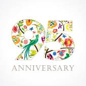 The template logo of 95th jubilee in vintage patterns with flowers and the bird of paradise
